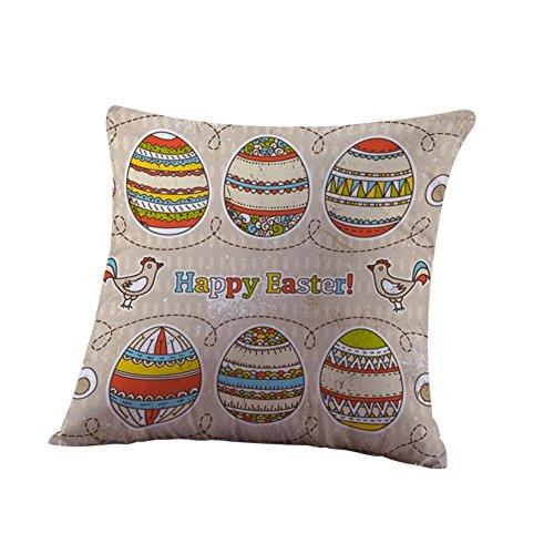 Ceally Ostern Baumwolle Kissenbezug Sofa Taille wurf Home Decor Mode Muster drucken Quadrat plüsch Kissen dekorativer kissenhülle leinen Kaninchen Printed kopfkissenbezug (A)