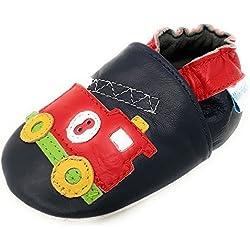 MiniFeet Premio Scarpe Bambino in Morbida Pelle - Scarpette Neonato - Scarpe Neonato Bambino Bambina - Scarpine in Pelle Prima Infanzia - 0-6, 6-12, 12-18, 18-24 Mesi e 2-3 Anni