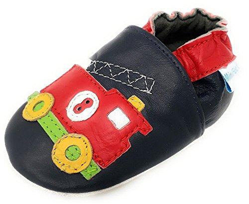 MiniFeet Premium Weiche Leder Babyschuhe, Feuerwehrwagen 3-4 Jahre