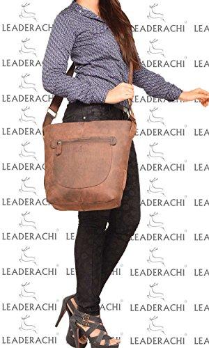 LEADERACHI-100% GENUINE HUNTER LEATHER CROSSBODY MESSENGER BAG [RIMINI]