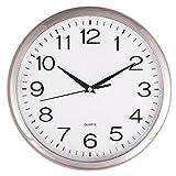 Orologio da Parete a Quarzo-Ideale per Un Uso in Ufficio, a casa o nella cuisinele Movimento al Quarzo di qualità dell' Orologio è Molto preciso.Silenziosa, Senza Tic Tac, Argento, 30 cm