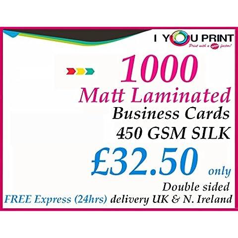 Mate Laminado/1000tarjetas de visita/450G/m²/doble cara/libre de entrega, color FULL COLOUR