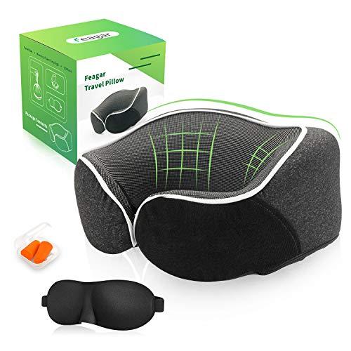 Feagar cuscino da viaggio, memory foam cuscini per cervicale ergonomico gamma collo regolabile per aereo, bus, auto, cuscino collo viaggio con borsa per il trasporto, tappi per le orecchie, maschera
