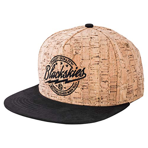 Blackskies Force of Nature Snapback Cap | Unisex Baseball Mütze Kappe Herren Damen Kork Holz - Braun Schwarz