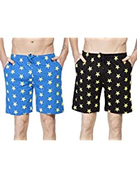 Clifton Men's Star Printed Shorts Pack Of 2-Royal Blue/Yellow-Black/Yellow