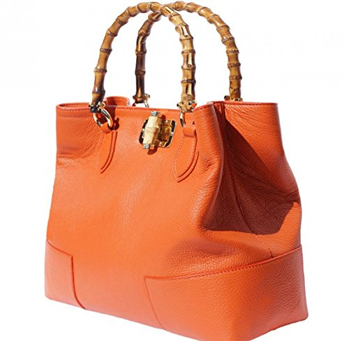 SUPERFLYBAGS Damen handtasche model Jungle in echtem Leder mit Traggriff und Verschluss in echtem bambus Made in Italy Orange