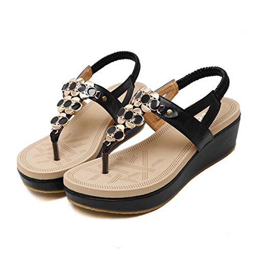 Zicac Donna Boho Clip Toe Wedge Heel Strass Elastico T-Strap Sandali Romani Sandali da Spiaggia Infradito Infradito Scarpe Nero