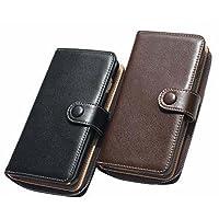 Étui universel pour téléphone, multifonctionnel Premium Retro Zipper Folio Flip Card Slots Porte-monnaie avec étui magnétique extensible pour téléphone IPhone6 / 7 (noir, brun)