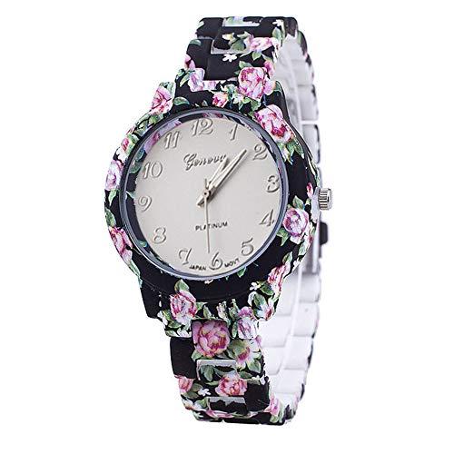 Rocita Damenbekleidung, kreativer Rosendruck Quarz-Armbanduhr mit Einer Batterie-Funktion, Schwarz