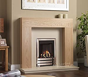 """Gas Chrome Oak Surround Cream Marble Silver Coal Flame Fire Modern Fireplace Suite - 48"""" - UK Mainland Only"""