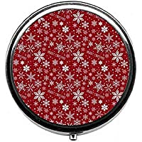 LinJxLee Merry Christmas Snowflakes red Round Pill Case Pill Box Tablet Vitamin Organizer Easy to Carry preisvergleich bei billige-tabletten.eu
