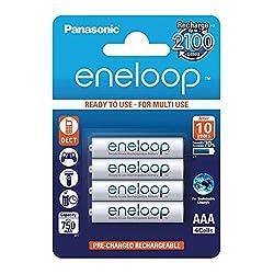 Panasonic eneloop, Ready-to-Use Ni-MH Akku, AAA Micro, 4er Pack, min. 750 mAh, 2100 Ladezyklen, starke Leistung und geringe Selbstentladung, wiederaufladbare Akku Batterie
