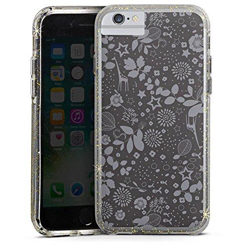 Apple iPhone X Bumper Hülle Bumper Case Glitzer Hülle Giraffen Giraffe Stars Bumper Case Glitzer gold