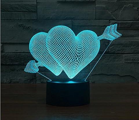 Ein Pfeil durch das Herz der bunten 3D Illusion Licht touch LED Licht Lampe visuelle Atmosphäre Acryl Leuchttisch Lampe (Illusion Glas Schiff)