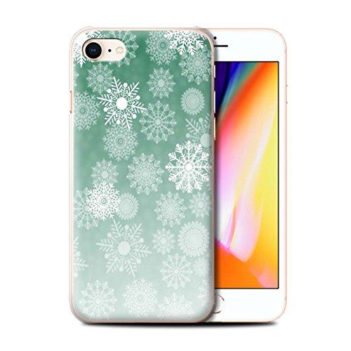 Stuff4 Hülle / Case für Apple iPhone 8 / Rot Muster / Schneeflocke Nebel Kollektion Grün