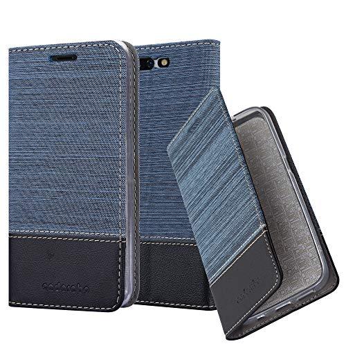 Cadorabo Hülle für Xiaomi Black Shark - Hülle in DUNKEL BLAU SCHWARZ – Handyhülle mit Standfunktion und Kartenfach im Stoff Design - Case Cover Schutzhülle Etui Tasche Book