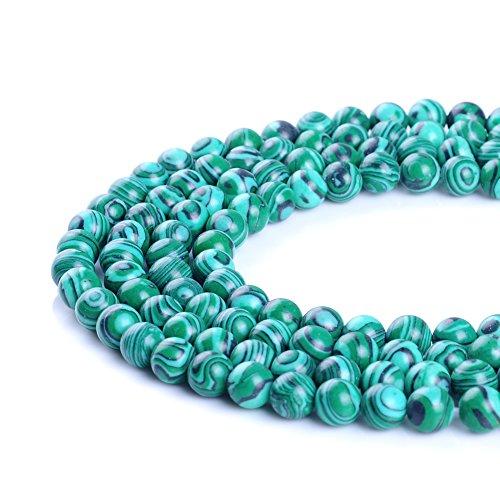 4 mm 6 mm 8 mm 10 mm 12 mm 14 mm Synthesis Malachite Pierre Perles Bande Courroie Perles pour fabrication de bijoux 39,4 cm, Green Malachite, 8 mm