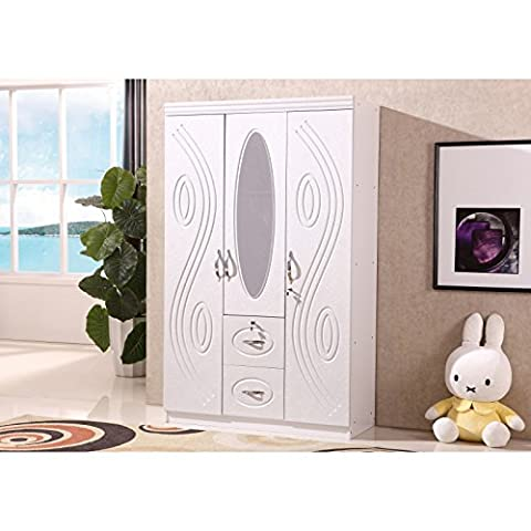 Modern 3 Door White Wardrobe with Two Drawers Hanging Rail and an Oval Mirror Bedroom Furniture
