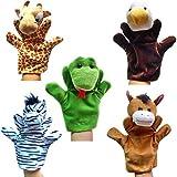 HappyCherry - Handpuppe Fingerpuppe Handspielpuppe Fingerpuppen-Set Fingerpuppen-Handschuh Tierpuppen Tierfiguren - 5 Stücke