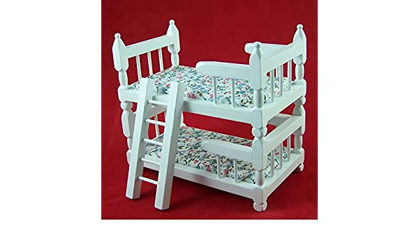 Etagenbett Puppenstube : Miniatur etagenbett holz weiß lackiert für puppenstuben