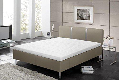 lifestyle4living Polsterbett in Grau aus Kunstleder | Bett in 180x200 mit Kopfteil | Doppelbett hat Füße aus Metall
