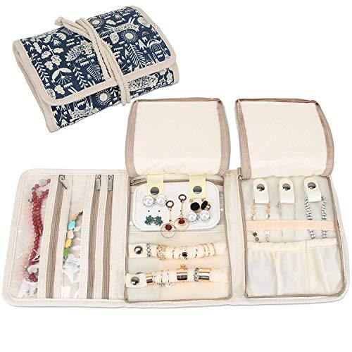 Teamoy Roll para Joyería Organizador de joyas Estuche de viaje para collares, pendientes, pulseras, broches, 3 carpetas, varios departamentos mundo de animales