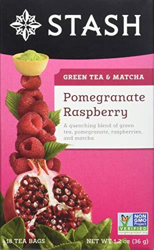 Stash Tea Pomegranate Raspberry Green Tea, 18 Count Tea Bags in Foil Individual Green Tea Bags for Use in Teapots Mugs or Cups, Brew Hot Tea or Iced Tea