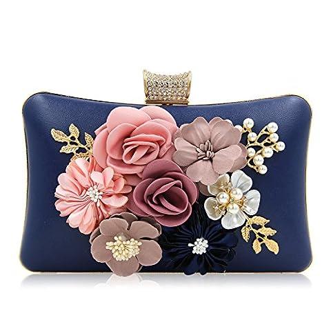 Milisente Women Flower Clutches Purses Bag Beaded Rhinestones Evening Handbags (Navy Blue)