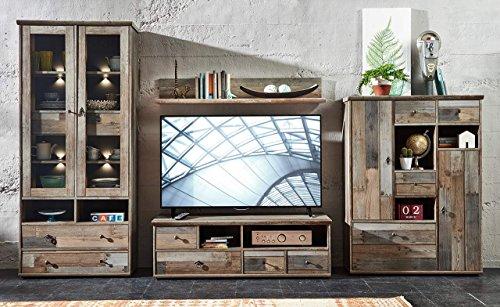 Wohnzimmerschrank, Wohnwand, Schrankwand, Anbauwand, Fernsehwand, Wohnzimmerschrankwand, Wohnschrank, Driftwood-Nb., Beleuchtung