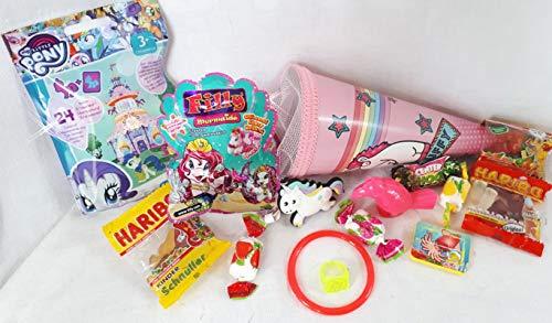 Geschenkpost24keine 101623 Mini Schultüte Fluffy 22cm gefüllt mit Filly Überraschung Pony Blindbag Blink Flummi verpackt