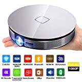 Projektor, Mini tragbare 4K Projektor Handy HD Video 1080P LED Handheld Smartphone Heimkino Diaprojektor Feuer Stick TV, 3D Perfect Effect Wireless
