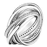 Joop JPRG90681A Damen Ring Embrace Sterling-Silber 925 Weiß Zirkonia 17,5 mm Größe 55
