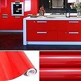 KINLO Selbstklebend Küchenschrank-Aufkleber PVC Tapeten Rollen für Möbel Küche Schrank 61cm x 5m Aufkleber Folie Möbel Schrank Tür Papier für Wandplakate - Rot