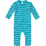 wellyou, Schlafanzug, Pyjama  Jungen und Maedchen, Einteiler langarm, Baby Kinder, tuerkis weiss gestreift, geringelt, Feinripp 100% Baumwolle, Gr 104-110