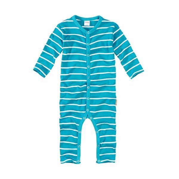 WELLYOU, Pijamas, Pijamas para niños y niñas, una Pieza de Manga Larga, niños pequeños, Color Azul Turquesa con Rayas… 5