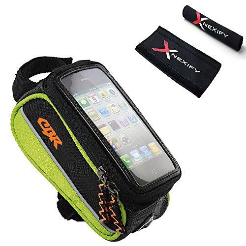 Nexify Cesto (Bolsa) para el Cuadro de la Bicicleta con Protector para Cadena - Cesto Grande Frontal Impermeable para Smartphones, Llaves, ID, Dinero - Múltiples Elecciones de Color (Verde)