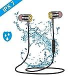 Cuffia Bluetooth sportiva, pomisty IPX7, impermeabile, auricolari in ear, cuffie sportive Bluetooth 5.0 con microfono, cuffie sportive, jogging/corsa/fitness, per iPhone, Android, ecc.