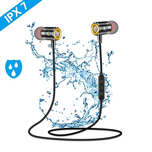 Bluetooth Kopfhörer Sport,Pomisty IPX7 Wasserdicht In Ear Kopfhörer,Sport Kopfhörer Ohrhörer Bluetooth 5.0 mit Mikrofon Sportkopfhörer Joggen/Laufen/Fitness für iPhone Android usw