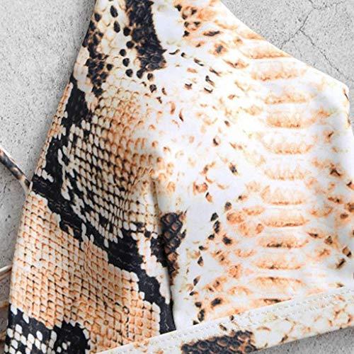 Mortimer Lamb Damen Bikini-Sets Leopardenprint Leopard Push up Gepolstert Bustier Hohe Taille Bikinislip Badeanzug Bademode - 3