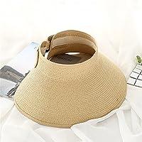 JYJSYM Sol de Verano Sombrero, Sombrero de Verano para Hombres y Mujeres, Verano, Sombrero de Sol, Sol de Verano Sombrero, sombrilla Plegable Tapa,Light Brown