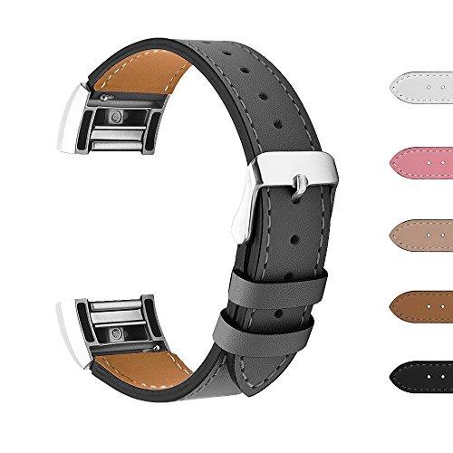 "Fitbit Charge 2 Armbänder, BeneStellar Leder Ersatz Armband für Fitbit Charge 2, Unisex Ersatzband mit Metall Konnektoren (Schwarz, 6.3""-8.6"")"