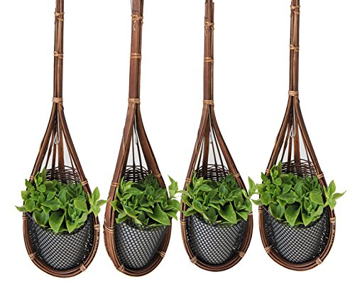Proudnature Lot de 4 Décoration de jardin Bambou Tressé accrocher de petits (pour Pot de fleurs Ø 3 cm.