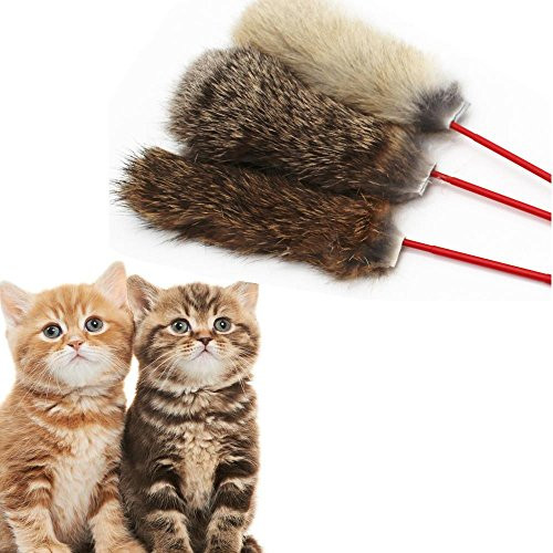 Doublehero Haustier Katze Kaninchen-Haar Haustierkatze Spielzeug Necken Katze Ruten Feder Katze Federspielzeug Interaktives Spielzeug (Zufällig)