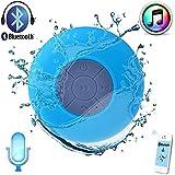 Mobbysol Portable Bluetooth Speaker With Suction Subwoofer Shower Waterproof Wireless Handsfree (Blue)