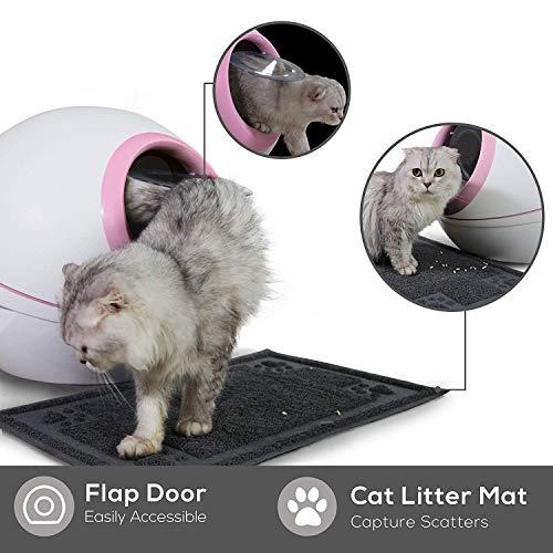 Runde große Katze Wurf Tablett Katze Wurf Box mit Katze Wurf Scoop, Kohlenstoff gefiltert, vollständig umschlossen abgerundetroll-Top-Deckel, Splash Prevention Katzentoilette mit 12 Sets,Pink Pink Mit Einem Splash