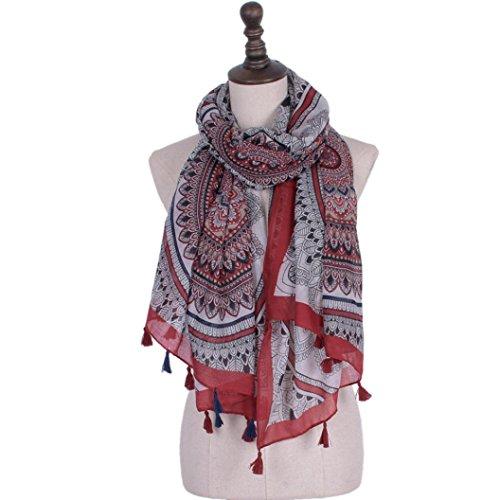 VENMO Frauen Baumwollmischung Dame Shawl Tassel Printing Infinity,180 X90CM Schals (Red) (Red Hots Candy Kostüm)