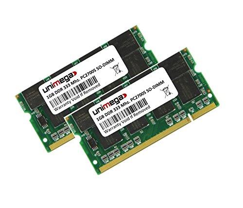 Compaq Evo N610c Speicher (2GB Dual Channel KIT (2x 1GB) für HP Compaq Evo N610c DDR333 PC2700S SO Dimm RAM Memory)