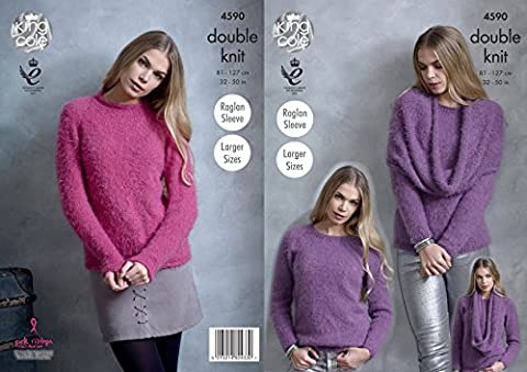 King Cole Womens Double Knitting Pattern Ladies Raglan Sleeve Sweaters & Poncho Snood (4590)