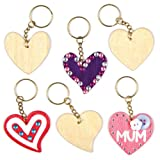 Baker Ross Schlüsselanhänger aus Holz mit Herzmotiven für Kinder zum Bemalen und Dekorieren zum Valentinstag oder Muttertag (8 Stück)