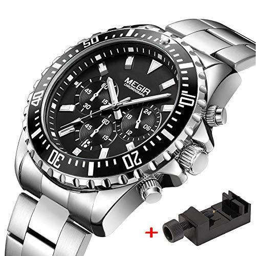 Megir Herren Uhren Silber Edelstahl-Armband Elegant mit Chronograph und Leuchtend Männer Quarz Uhr Wasserdicht